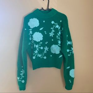 H&M Kelly Green and Aqua Embroidered Sweater